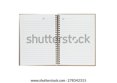 blank notebook isolate with clipping path - stock photo
