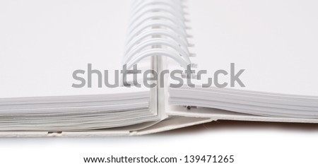 blank notebook isolated on a white background