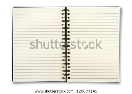 Blank Notebook isolated on the white background. - stock photo