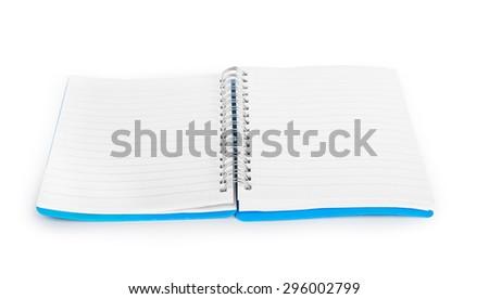 Blank notebook isolated on white background - stock photo