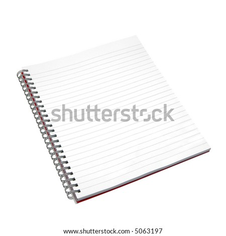 Blank notebook. Isolated on white. With detailed clipping path including the spirals. - stock photo
