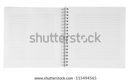 Blank notebook isolation on white