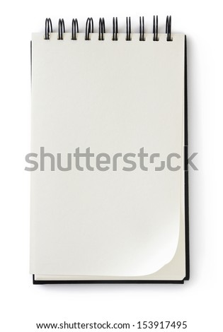 blank notebook on white with clipping path