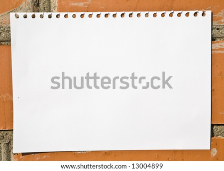 Blank Notebook Page On The Wall