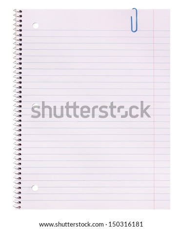 Blank. Notebook paper and paper clip isolated on white background. Back to school concept. - stock photo