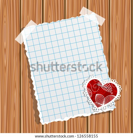 Blank notebook paper and small valentine on a wooden wall. Raster version. Vector is also available in my gallery - stock photo