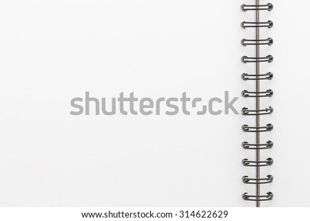 Blank notebook paper isolated on white background