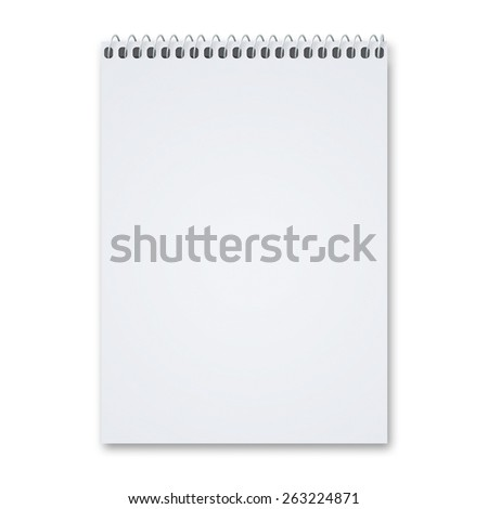 Blank notebook sketch pad with metal spiral with lots of copy space, isolated on a white background with shadow. - stock photo