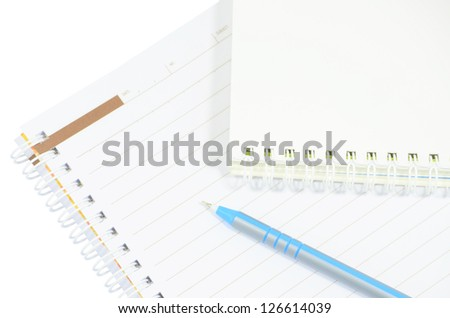 Blank notebook with pencil. isolated on white