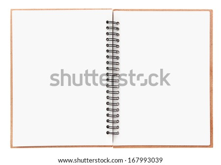 Blank notebook with spiral isolated on white - stock photo