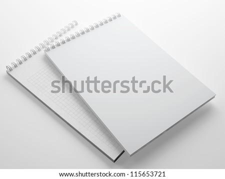 Blank notepad isolated on white - stock photo
