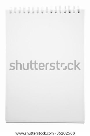 Blank Notepad Isolated On White Background - stock photo