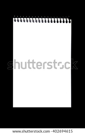 blank notepad on black background ready to put your text - stock photo