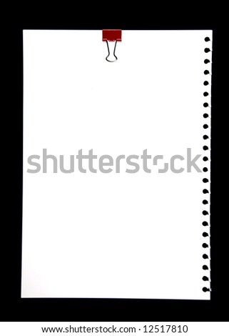 Blank Notepad Page With Red Metal Clip Isolated On Black Background - stock photo