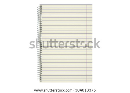 blank notepad with lined paper isolated on white background
