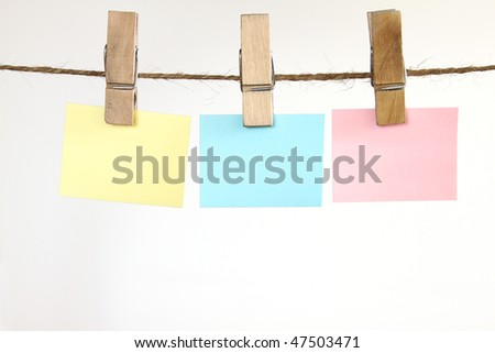 Blank notes for your text concept- put your message on the hanging paper.