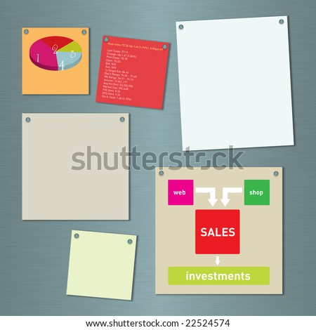 Blank notes, graph and business model on a brushed metal background
