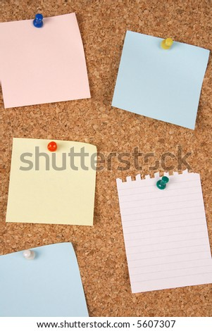 Blank notes on corkboard