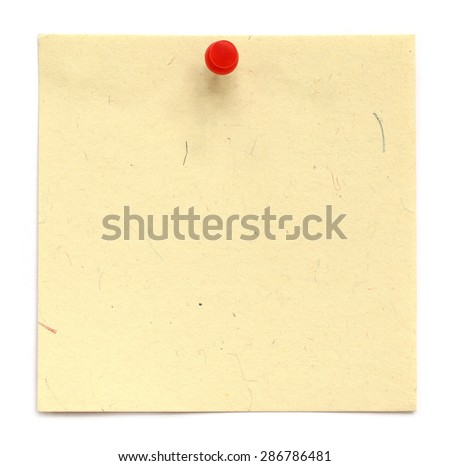 Blank notice with pushpin over white background - stock photo