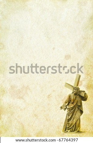Blank of Bible - biblical vintage page. Ancient page - Jesus Christ on the old paper. Religion frame - Jesus carrying his cross on Calvary. - stock photo