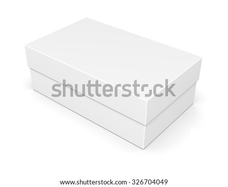 Blank of closed paper shoe box isolated on white background - stock photo