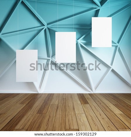 Blank of empty frames in abstract modern interior room - stock photo