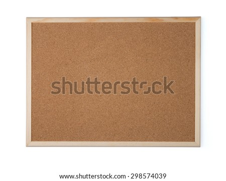 Blank office cork board isolated on white background.
