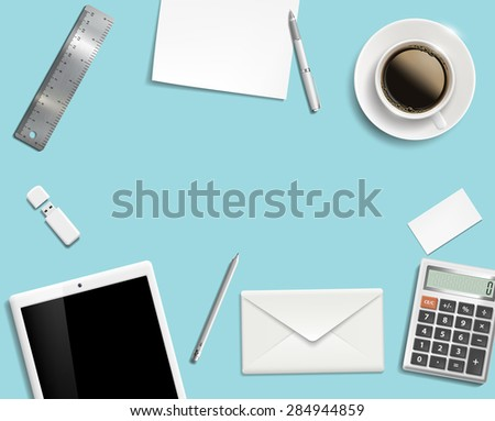 Blank office desk background. - stock photo