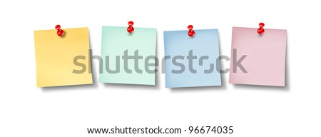 Blank office sticky notes in a line up of empty editable paper memos as business communication and employee social networking with yellow pink blue and green pages and a red thumb tack on white. - stock photo