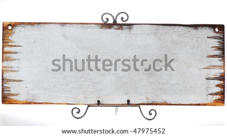 blank old antique wooden sign - stock photo