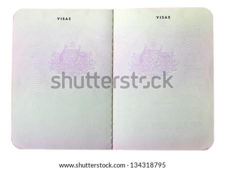 Blank old Australian passport pages isolated on white background. - stock photo