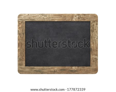 Blank old blackboard on a white background - stock photo