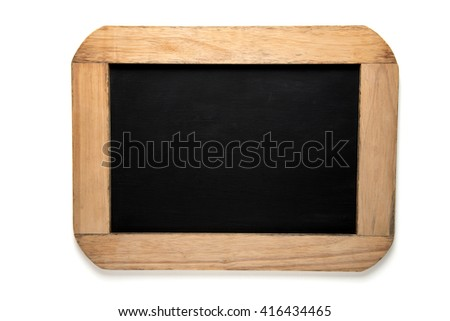 Blank old blackboard on white background - stock photo