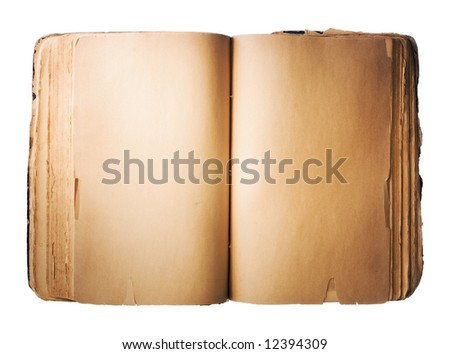 Blank old Book isolated on white background - stock photo