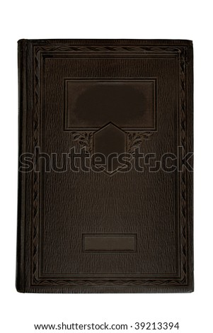 Blank old ornate leather stamping book cover, isolated
