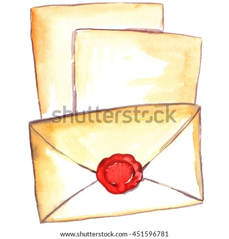 Blank old paper and closed envelope with bright red seal painted in watercolor on white isolated background - stock photo