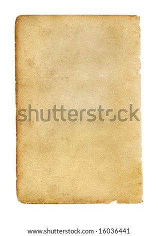 blank old paper on a white background