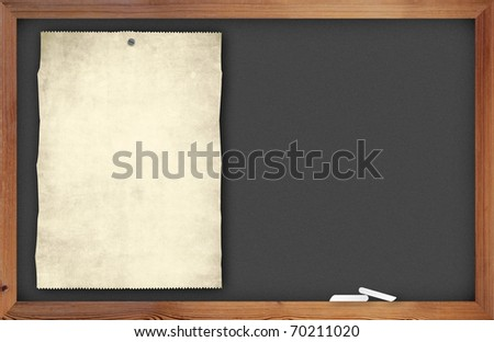 blank old paper on chalkboard with space for your data - stock photo