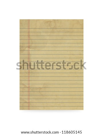 Blank old paper on white background - stock photo