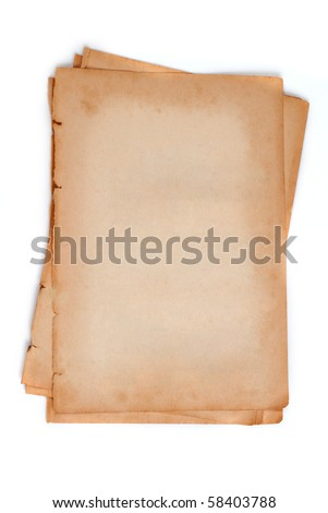 blank Old paper on white background isolated