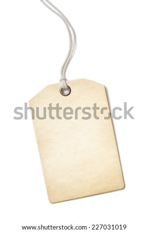 Blank old paper price tag or label isolated - stock photo