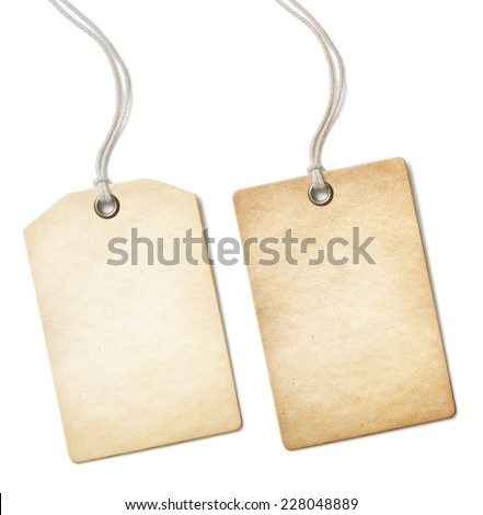 Blank old paper price tag or label set isolated - stock photo