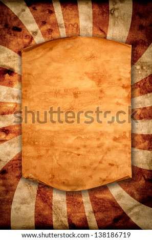 Blank old paper with curled edge hanging on the wall. - stock photo