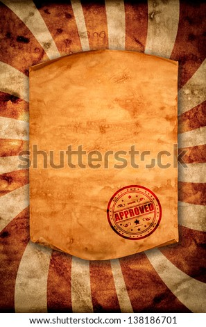 Blank old paper with curled edge hanging on the wall. With the stamp of approval. - stock photo