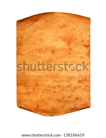 Blank old paper with curled edge on a white background - stock photo