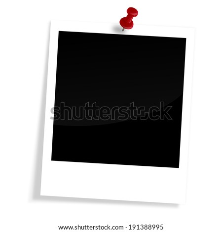 Blank old photo with pin needle - stock photo