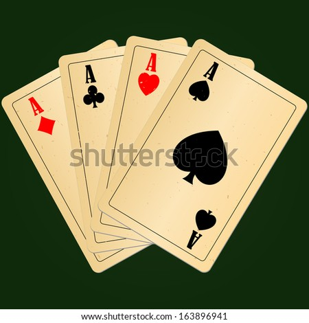 Blank old play cards four aces on green background