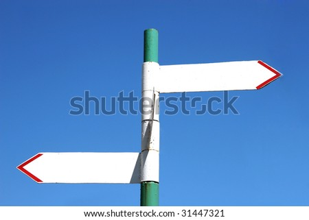 Blank old sign post with two arrows (with empty space for your text)