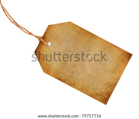 Blank old tag isolated on white - stock photo