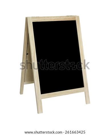Blank old tripod blackboard isolated on white background - stock photo
